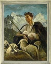 junger schäfer mit herde und einem lamm im arm haltend im gebirge by josef hengge