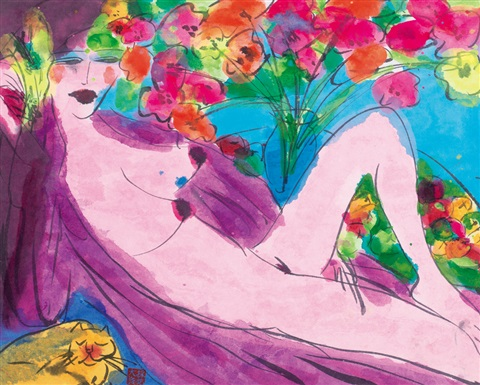 裸女与瓶花 nudes and flowers by walasse ting