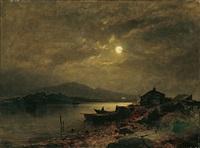 norwegische fjordlandschaft bei mondschein by sophus jacobsen