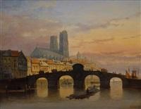 pariser stadtansicht in abendlicher stimmung mit brücke und notre dame im hintergrund by pieter gerardus vertin