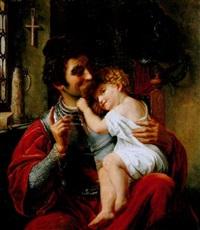 der krieger und sein kind by ferdinand-theodor hildebrandt