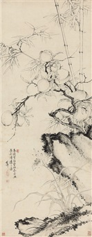 祝寿图 (peach, bamboo and rock) by li shizhuo