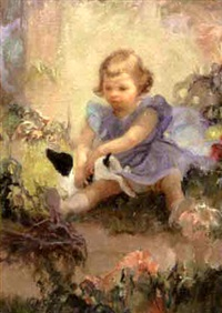 playing with the puppy by gladys nelson smith