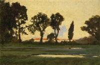 abendliche landschaft mit prachtvollen baumsilhouetten und kleinem tümpel by herbert w. neville