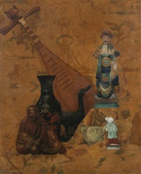 oriental chinoiserie still life with mandolin by violette lucienne alliot