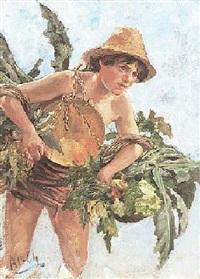 italienischer junge mit gemüsekörben auf dem weg zum markt by friedrich klein-chevalier
