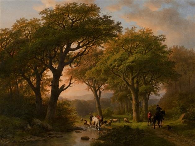 sommerlandschaft mit hirte und wanderern by johann bernard klombeck