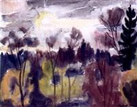 abensonne im malerischen gegenlicht in südlicher landschaft by sigurd lange
