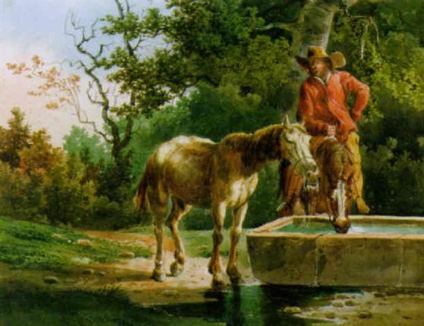 An der Pferdetränke by Salomon Gessner on artnet