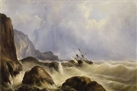 sailing ships in a stormy sea near the cliff line by andreas achenbach