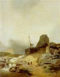 bauernpaar im hochgebirge, einen wolf stellend by salvatori luigi stefani