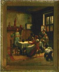ein toast, fröhliche runde im wirtshaus by wilhelm giessel