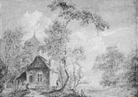 dorfansicht mit bauernhaus, kirche und bäumen, staffage by paul van liender