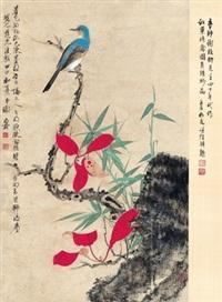 红叶珍禽图 (bird and red leaves) by xie zhiliu