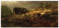 a farmhouse by a river (oil study) by andreas achenbach