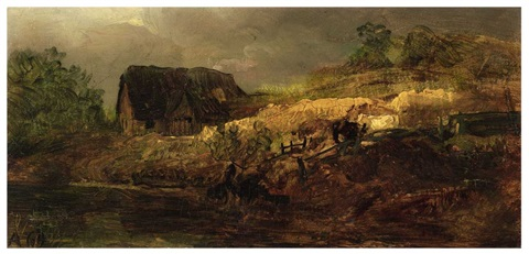 a farmhouse by a river oil study by andreas achenbach