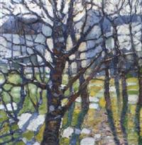 vorfrühling. blick zwischen bäume auf hellgrünes feld by karel spillar
