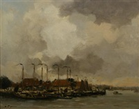 harbour scape by willem george frederik jansen