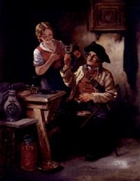alter depeschenreiter mit blonder magd in einer schenke by leonhard wilhelm lehmann