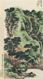 松岭奔泉图 (running stream in forest) by xie zhiliu