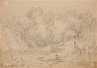 two landscapes near rome (2 works) by andreas achenbach