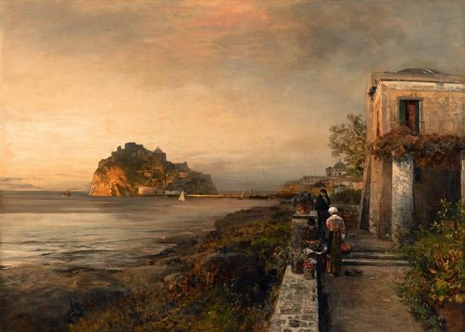 ischia mit blick auf das castello aragonese by oswald achenbach