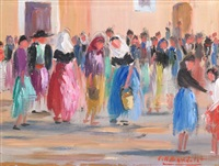 paisajes y escena popular (4 works) by josep coll bardolet
