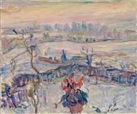 blick aus dem fenster auf eine winterliche landschaft by wolfgang von websky