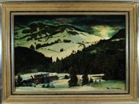 winterabend in alpiner landschaft mit hütten by josef hengge