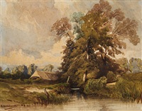 a landscape with a lake by eduard hildebrandt
