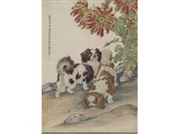 two dogs and chrysanthemums by liu kuiling