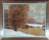 winterliche flusslandschaft by carl friedrich felber