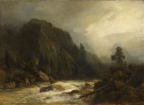 mountain landscape with torrent by andreas achenbach