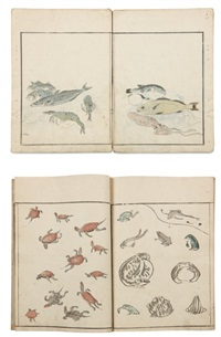 gyokai ryakuga shiki - méthode de dessins rapides de fruits de mer (vol w/ 31 works)(+ chôjyû ryakuga shiki, vol w/ 49 works; 2 vols) by kitao masayoshi