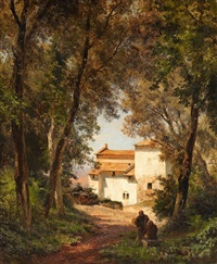 wooded landscape with a monastery by oswald achenbach