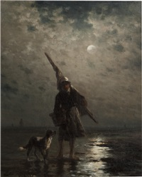 young fisherman with dog by edward percy moran
