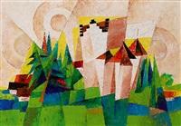 meersburg. kubistische landschaft by joseph friedrich gustav binder