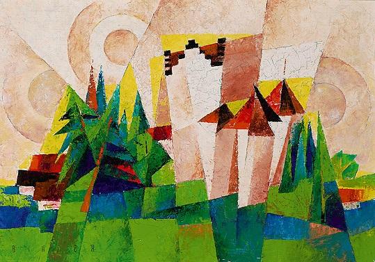 meersburg kubistische landschaft by joseph friedrich gustav binder