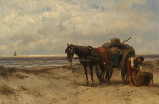 shell fisher on the beach by johannes hermanus barend koekkoek