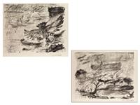 die wasser steigen sowie die wasser fallen (2 works) by lovis corinth