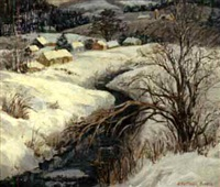snowy river bank with town in the distance by susan gertrude schell