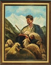 schäfer mit lämmlein im arm und schafherde im hochgebirge by josef hengge