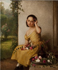 girl in a yellow dress with fresh cut flowers by george cochran lambdin