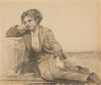 a seated boy by arthur kampf