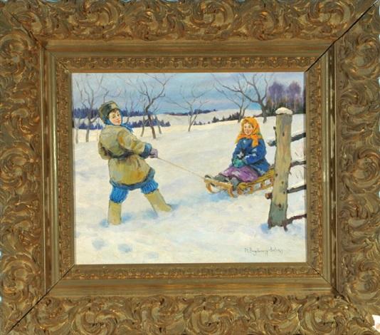 kinder mit schlitten in verschneiter landschaft by nikolai petrovich bogdanov belsky