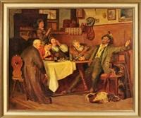 jägerlatein - die gäste einer wirtsstube lauschen gebannt den ausführungen eines jägers (after e.v. grützner) by josef hengge