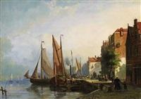 a dutch harbour (dordrecht?) by johannes frederik hulk the elder