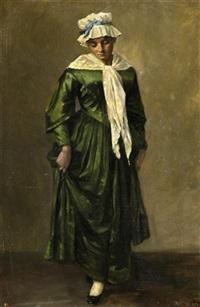 bildnis einer jungen dame in grüner robe, das dunkle haar von einer weißen spitzenhaube bedeckt by klara (clara) grosch
