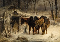winter landscape with a huntsman and horses by adolf schreyer