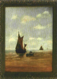 seemänner booten aus ihrem segelboot am strand aus by johann jakob konrad bechtold
